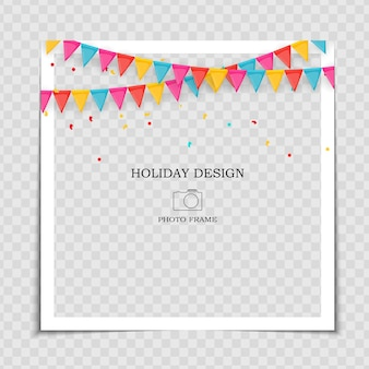 Party holiday photo frame template with flags for post in social network.