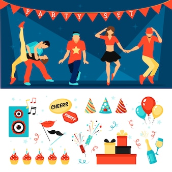 Party horizontal  vector images set