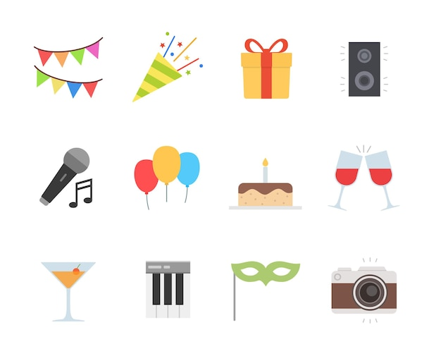 Party icon set in flat style design