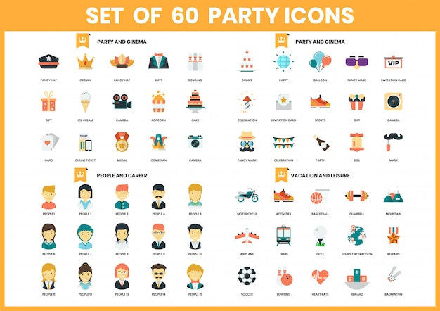 Party icons set for business