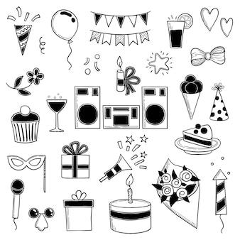 パーティーイラスト。面白い誕生日ディスコ音楽パーティーシンボルお菓子ケーキと飲み物のシルエット。イラストシルエット