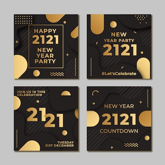 Party instagram post pack new year 2021