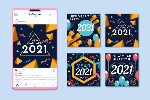 Party instagram posts new year 2021