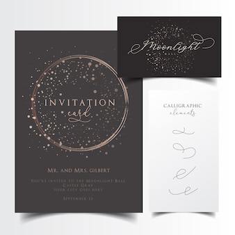 Party invitation and business card design with editable calligraphic elements
