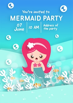 Party invitation card template with cute little mermaid under the ocean .