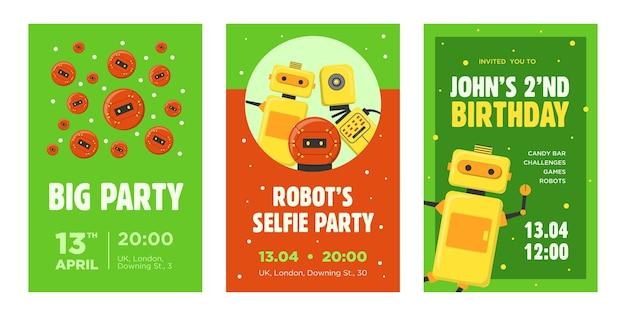 パーティ招待状セット。ロボット、ヒューマノイド、サイボーグ、インテリジェントマシンは、テキスト、時刻、日付のサンプルを使用してイラストをベクトルします。発表ポスターとチラシデザインのロボット工学の概念