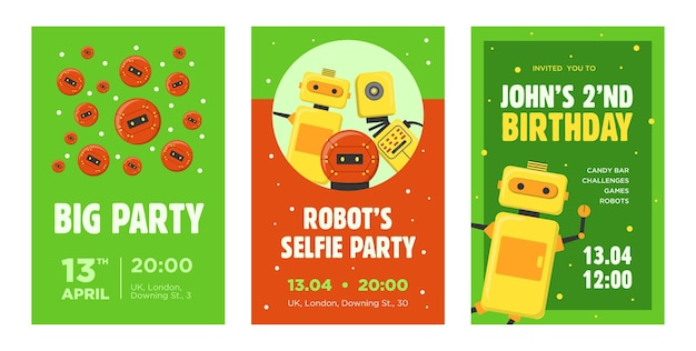 Party invitation cards set. robots, humanoids, cyborgs, intelligent machines vector illustrations with text, time and date samples. robotics concept for announcement posters and flyers design