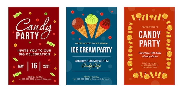 Party invitation cards with candies and ice cream set