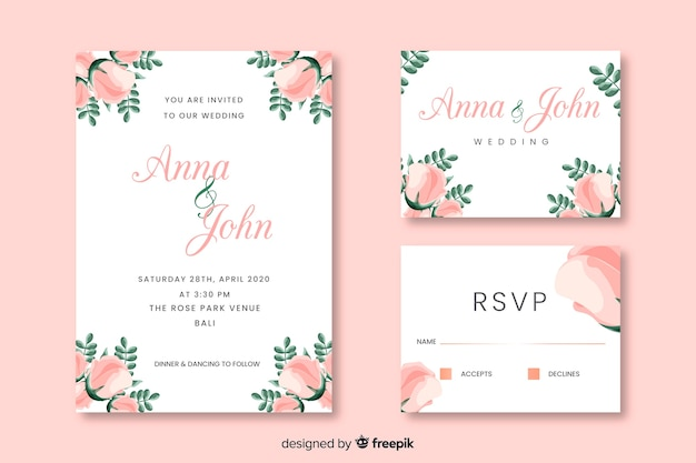 Party invitation cards with floral design