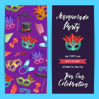 Party invitation template banner, poster with masks and party accessorie set