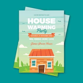Party invitation template with house