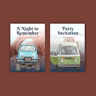 Party invitation template with national parks of the united states concept, watercolor style
