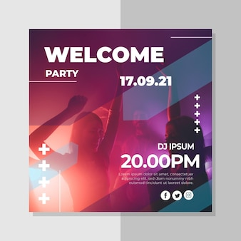 Party invitation template with photo