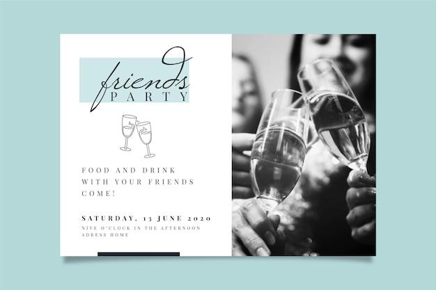 写真付きのパーティの招待状