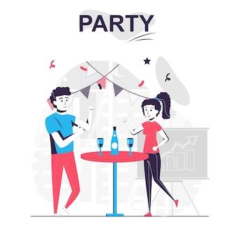 Партия изолированной мультяшной концепции коллеги отмечают корпоративный праздник напитка и веселятся