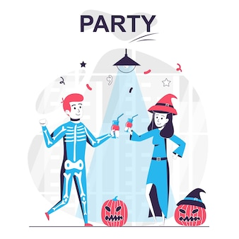 Партия изолировала концепцию мультфильма мужчина и женщина празднуют напиток на хэллоуин и веселятся