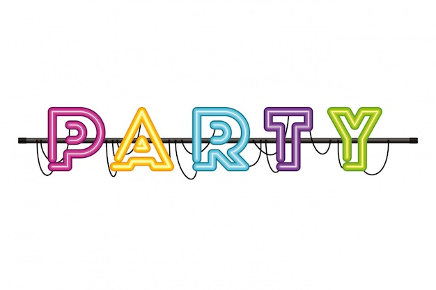 Party label in neon light isolated icon