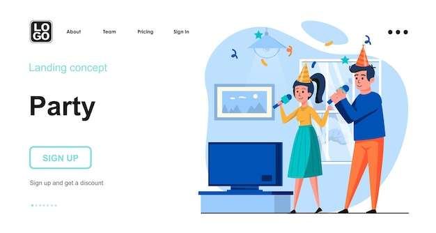 Party landing page template