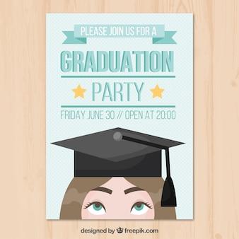 卒業の帽子と幸せな学生のパーティーのリーフレットのテンプレート