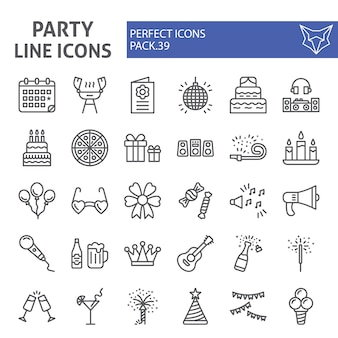 Party line icon set, celebration collection