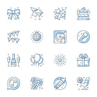 Party linear icons set.