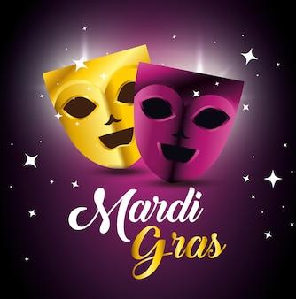 Party masks for mardi gras celebration