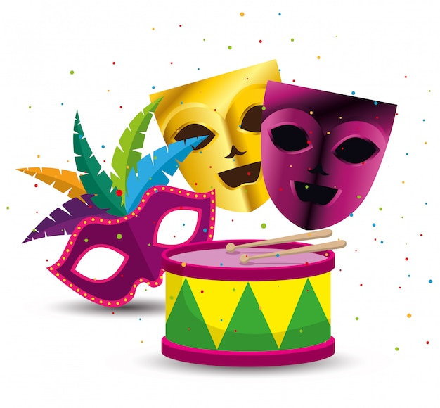 Party masks with drum for mardi gras