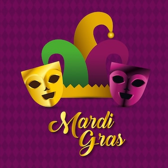 Party masks with hat for mardi gras celebration
