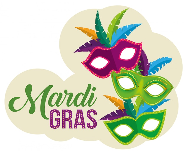 Party masks with mardi gras celebration