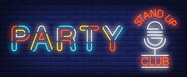 Party multicolored neon sign. glowing stand up club and mike