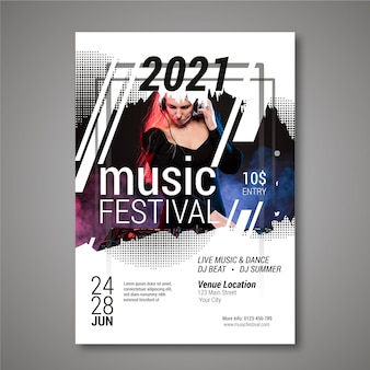 Party music festival poster with female dj