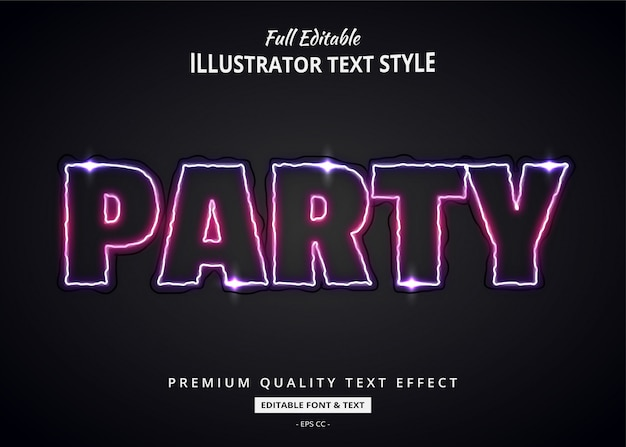 Party neon 3d text style effect