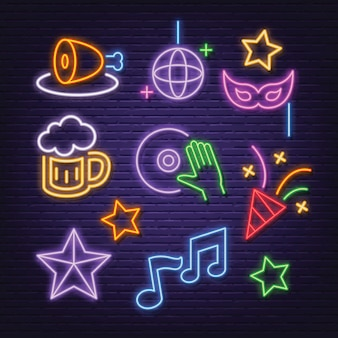 Party neon icons set