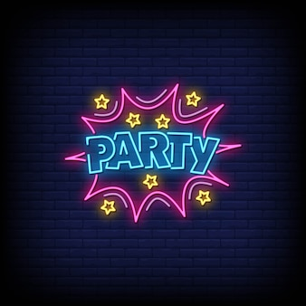 Party neon signs style text