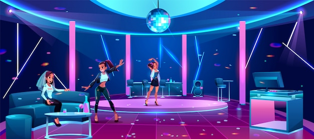 Party in night club illustration