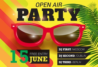 Party, open air, June fifteen lettering with red sunglasses. Summer invitation