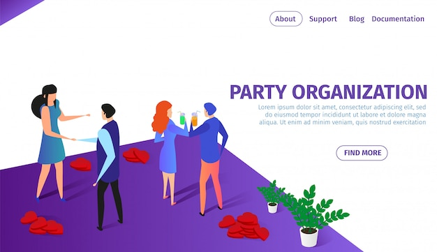 Party organization horizontal banner with couples