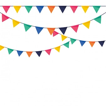 Party pennants flat colorful vector illustration
