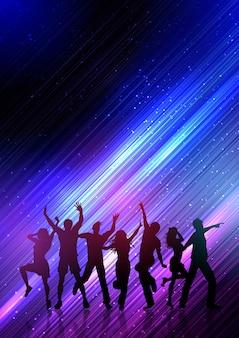 抽象的な背景の上で踊って党の人々