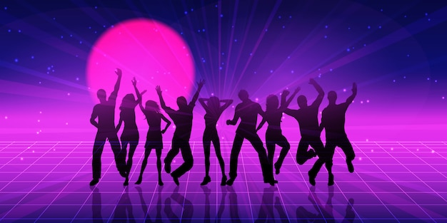 Party people silhouette with retro style