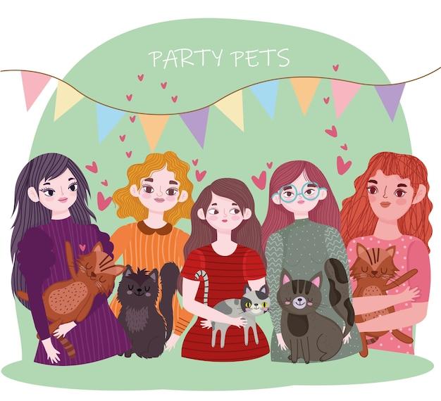 파티 애완 동물, 고양이 동물 만화 일러스트와 함께 젊은 여성