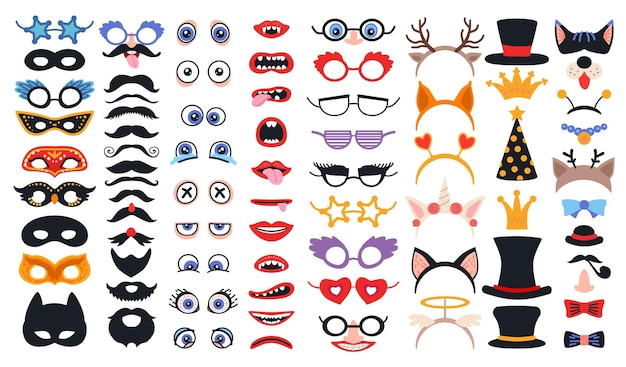 Party photo booth props set with face masks and glasses