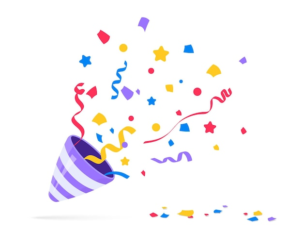 Party popper. exploding festive popper with confetti. the element of celebrating a new year, birthday and any holiday. flapper for celebration decoration design emoji. flat icon. party confetti