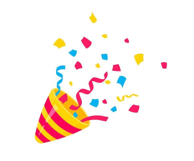 Вечеринка поппер. взрывающийся праздничный поппер с конфетти. стихия празднования нового года, дня рождения и любого праздника. flapper для дизайна украшения торжества смайликов. плоский значок. конфетти для вечеринки