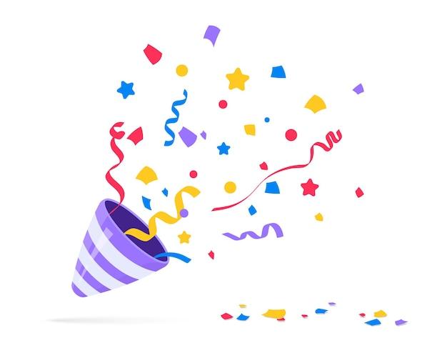 パーティー・ポッパー。紙吹雪でお祝いのポッパーを爆発させます。新年、誕生日、休日を祝う要素。お祝いの装飾デザインの絵文字用のフラッパー。フラットアイコン。パーティー紙吹雪