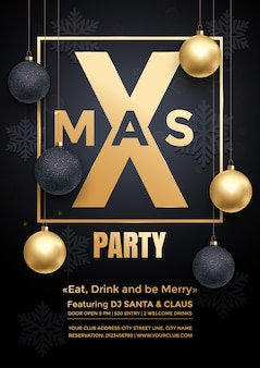 Party poster merry christmas holiday club invitation gold ornament decoration