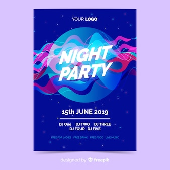 Party poster template with abstract shape