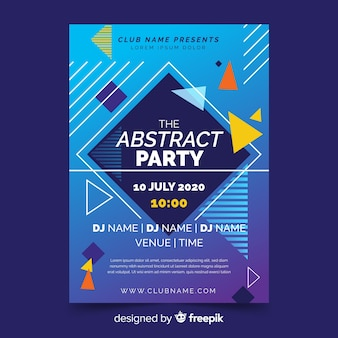 Party poster template with abstract shapes