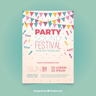 Party poster template with confetti and flags