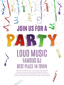 Party poster template with confetti and colorful ribbons on white background.